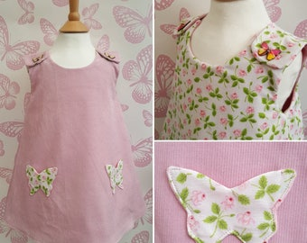 Reversible, Needle cord, Pinafore Dress, Butterfly Pockets, Girls Dress, Toddler Dress, Pink Cord, Pinafore, Girls Fashion, Vintage, Rose