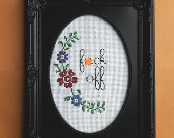 F*ck off completed cross stitch, birthday gift, funny subversive profanity