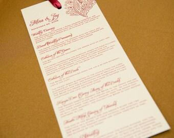 Custom Wedding Program and/or Indian Wedding Invitation Suite
