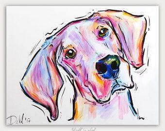Colorful Pet Art, Custom Dog Paintings, Pet Portrait, Acrylic On canvas, Wall Decor, Home Decor