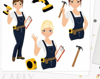 DIY woman character clipart, construction, fix it girl, tools, hammer, drill clip art, blonde, brunette and auburn hair (Carly L275)