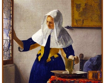 GREAT SALE Young Woman With a Water Jug inspired by Dutch Artist Johannes Vermeer Counted Cross Stitch Chart