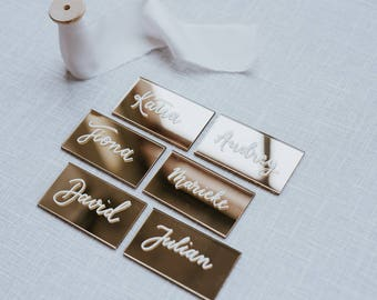 Acrylic Place Cards   Wedding Place Cards   Hand Lettered   Calligraphy   Made to order   Name Cards
