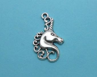 Silver Unicorn Charms (6) Silver Tone Metal