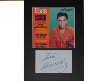 Photo print Elvis Presley printed signed autograph 8x6 inch mounted display #2