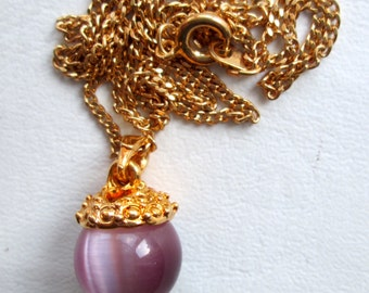 Vintage Purple Moonglow Cat Eye Round Glass Orb Bead Gold Tone Chain Mini Heart Cutout Pendant Necklace