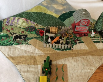 Farm play scape play mat Playmat play set barn vehicle set fence corn patch animals hay bucket  Imaginative and Educational Play Montessori