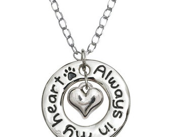 Always in My Heart Dangling Pet Loss Memorial Necklace Dog Lover Jewelry Pet Loss Necklace Dog Memorial Jewelry Pet Memorial Necklace