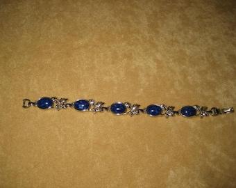 Sarah Coventry Bracelet Blue Stones Silver Tone Vintage