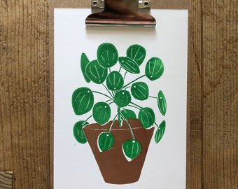 Lino print, pilea (color)