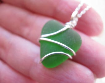 Little Lime Mermaid Heart Sea Glass Heart Lime Green Wire Wrapped Pendant Heart