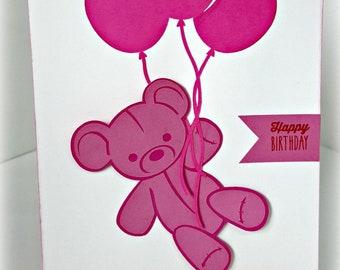 Handmade - Happy Birthday Bear Balloon Card