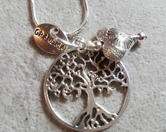Tree of Life, Heart, Grandma, 16 inch snake, Charm necklace