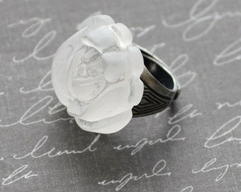 White Rose Ring, Art Deco Ring, Silver Ring, Clear Frosted Rose Ring, Rose Jewelry, Adjustable Silver Ring, JewelryFineAndDandy, SRAJD
