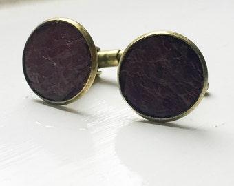 Distressed Dark Brown Leather cufflinks | Wedding Cuff links Groom | Gift for men l Groomsmen cufflinks | Valentines gift