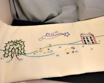 Sheep Meadow Hand Embroidered Dish Towel