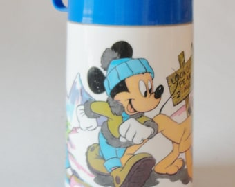 1 Vintage Disney Mickey Mouse & Pluto Plastic Lunch Box Aladdin Thermos - Retro Cartoon Kids Thermos, Boys Blue School Lunchbox Container