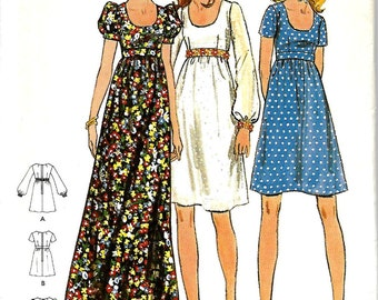 Butterick 6175 Junior & Junior Petite Empire Waist Dress Pattern,  Size 5, Bust 30, UNCUT