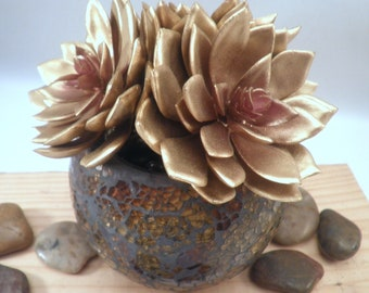 "Gold Metallic Echeveria Rosettes Potted Artificial Succulents from ""Succulent Perrydise"" - 7"" Diameter x 7-1/2"" Tall"