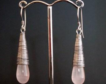 Rose Quartz Drops Earrings