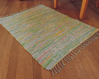 "Hand Woven Rag Rug Small Pastel Cotton 26"" x 36"""