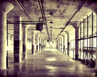 San Francisco Photography – An empty hallway of the Alcatraz Island prison in San Francisco