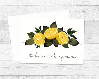 Lemon and Greenery Thank You Cards, Postcards x10, Wedding Thank You Cards, Thankyou Postcards, Citrus Fruit Thank You Notes, Yellow