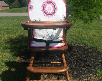 Wooden Highchair Pad/Cushion/Cover High Chair Pad. High Chair Cushion. High Chair Cover: Emma Candy Pink wooden/vintage highchairs.
