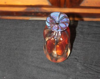 Hand Blown Glass with Brown Swirls Signed by the Artist Mary Ardus 1976