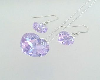 Purple Swarovski Heart Jewellery, Violet Crystal Earrings, Purple Jewelry Set, Lilac Pendant, Gift For Her Under 25, Christmas Present.