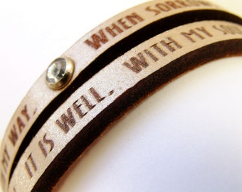 It Is Well With My Soul Metallic Sand Daily Reminder Leather Double Wrap bracelet