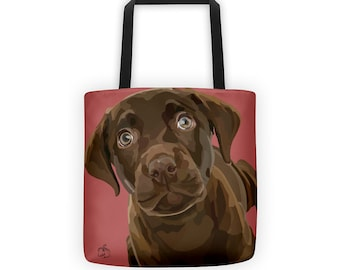 Chocolate Labrador Retriever Puppy Tote Bag, Custom Color Background Vector Art
