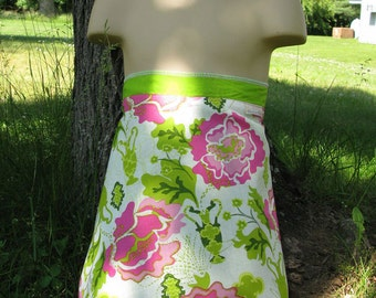 Wrap Skirt Reversible Pink Spring with Green Child 4-8