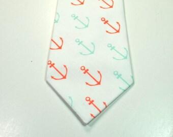 Nautical Ties Anchor Necktie Coral and Mint Necktie Coral Anchor Neckties Seaside Neckties Beach Wedding Neckties