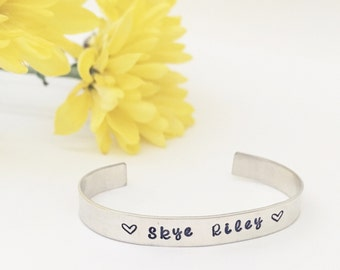 child stamped cuff, hand stamped bracelet, stamped baby or child cuff