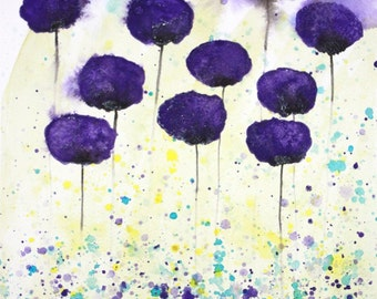 Starry Eyed -- Purple Flowers -- Original Watercolor Painting 11x14