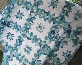 Queen Bed Quilt, Seascapes, Nautical Quilt, Marine Life, Irish Chain Quilt, Navy Blue Aqua Teal Quilt, 87 x 87