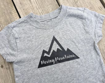 "Moving Mountains - Down Syndrome Awareness Shirts ~ Girls and Boys, Grey T-shirt with Black ""Moving Mountains"" Logo"