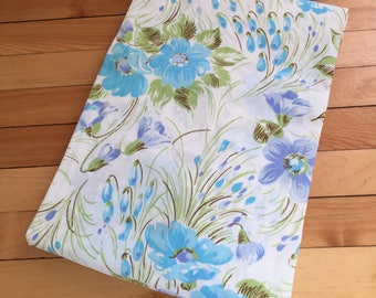 Vintage 1970s Blue Purple Floral Cotton Twin Fitted Bed Sheet!