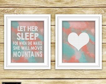 Let Her Sleep She Will Move Mountains Heart Nursery Art Digital Watercolor Set of 2-8x10 Digital JPG Instant Download (49)