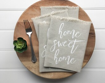 Napkins - Linen Napkins Home Sweet Home Napkins White Eat Napkins Farmhouse Decor Kitchen Decor Dining Table Setting Tabletop Tablescape