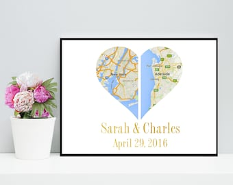 Custom Map, Double Heart Map, Printable, Wedding Gift, Engagement Gift, Anniversary Gift, digital Download, Custom Print, Personalized Gift