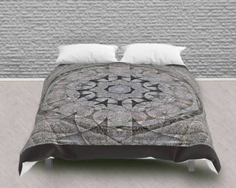 Queen Size Comforter Gothic Circle Medallion Stone Architecture, Neutral Colour Pattern Bedding Home Decor