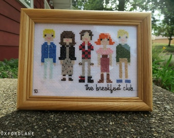 Framed Breakfast Club Cross Stitch