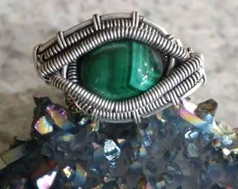Malachite Eye Ring Size 7 1/2