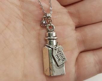 Alice in Wonderland Drink Me Bottle Necklace, Alice in Wonderland Jewelry, Birthstone Jewelry