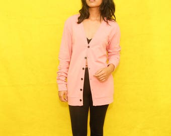 Super Cute Pink Cardigan with Black Button Up Small