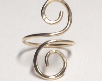 Scroll Ring, 14 kt Gold Fill or Sterling Silver, Long Ring, Hammered Texture, Boho Chic Ring, Handmade in Any Size.