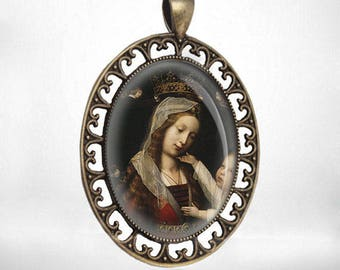Madonna and Child by Provost - Catholic Pendant Vintage Large Virgin Mary Medal