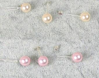 Braut Schmuckset, Hochzeit Schmuckset, Perlenohrstecker, Perle Halskette, Brautschmuck, Hochzeit, elfenbein, rosa, pink, dezent, elegant